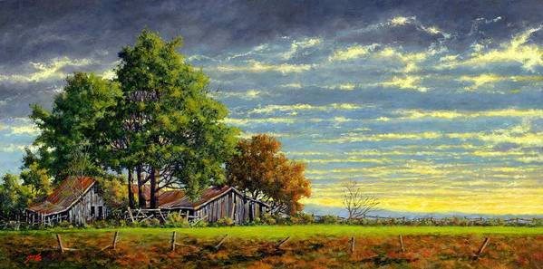 Landscape Art Print featuring the painting Dusk by Jim Gola