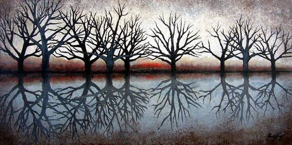 Tree Art Print featuring the painting Reflecting Trees by Janet King