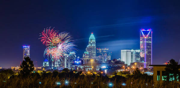Carolina Art Print featuring the photograph 4th Of July Firework Over Charlotte Skyline by Alex Grichenko