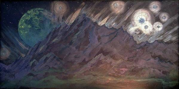 Cosmic Light Series Art Print featuring the painting Cosmic Light Series by Len Sodenkamp