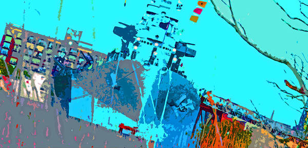 Art Print featuring the digital art Battleship North Carolina by Chick Phillips