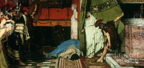 A Roman Emperor Art Print featuring the painting A Roman Emperor  Claudius by Sir Lawrence Alma Tadema