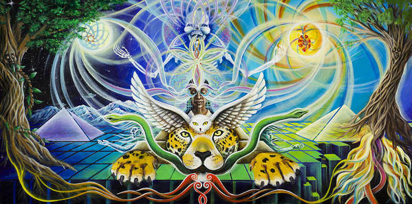 Jaguar Art Print featuring the painting A Shaman's Journey Through The Heart Of The Sun by Morgan Mandala Manley