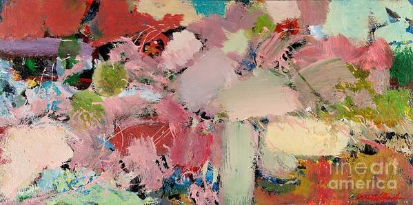 Landscape Art Print featuring the painting Azaleas by Allan P Friedlander