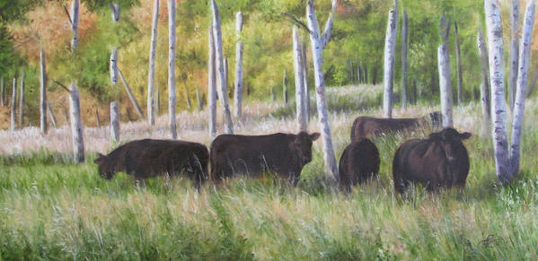 Black Angus Art Print featuring the painting Black Angus Grazing by Tammy Taylor