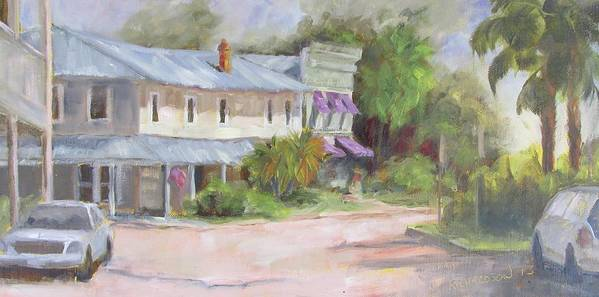 Apalachicola Art Print featuring the painting Commerce Street Apalach by Susan Richardson