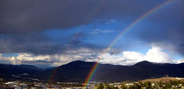 Rainbow Art Print featuring the photograph Double Delight by Kathy Bassett