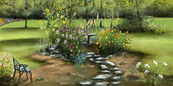 Oil Canvas Original Flowers Flower Garden Perineal Garden Sunflowers Landscape By Cecilia Brendel Floral Art Print featuring the painting Emily's Garden by Cecilia Brendel