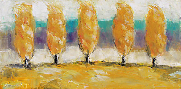 Landscape Print featuring the painting Fall Trees by Becky Kim