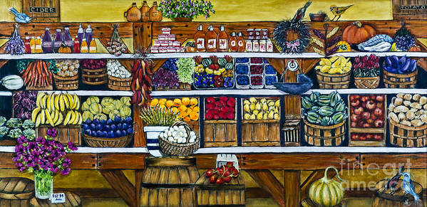 Market Art Print featuring the painting Fruit And Vegetable Market By Alison Tave by Sheldon Kralstein