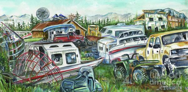 Alaskan Yard Art Print featuring the painting Fairbanks Landscaping by Margaret Donat