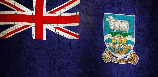 Aged Art Print featuring the digital art Grunge Falkland Islands Flag by Steve Ball