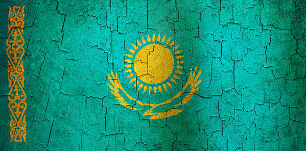 Aged Art Print featuring the digital art Grunge Kazakhstan Flag by Steve Ball