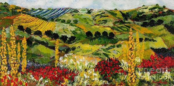 Landscape Art Print featuring the painting Heavenly View by Allan P Friedlander