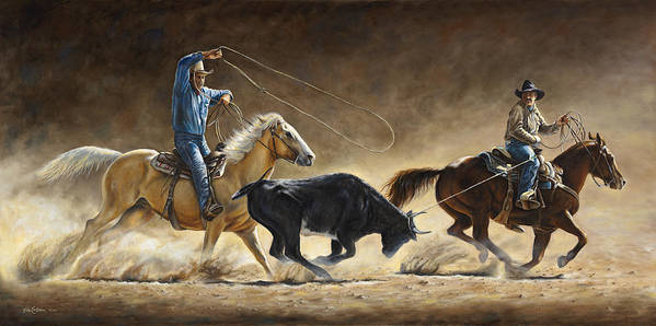 Cowboy Art Print featuring the painting In The Money by Kim Lockman