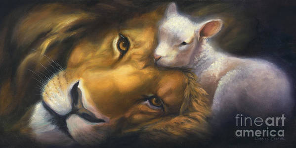 Lion And Lamb Print featuring the painting Isaiah by Charice Cooper