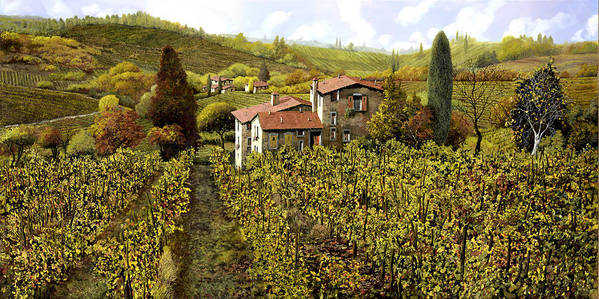 Vineyard Art Print featuring the painting Le Vigne Toscane by Guido Borelli