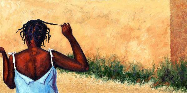 Haiti Painting Art Print featuring the painting Lucie In Haiti by Janet King