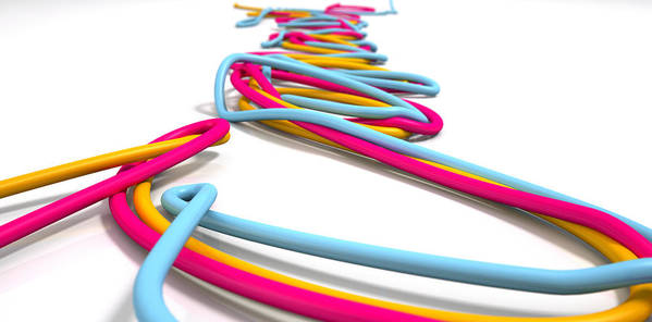 Wired Art Print featuring the digital art Luminous Cables Closeup by Allan Swart