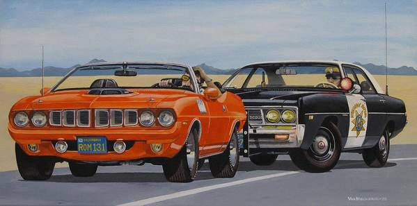 Police Art Print featuring the painting Mopar Authority by Robert VanNieuwenhuyze