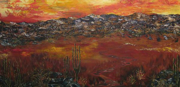 Mystic Desert Art Print featuring the painting Mystic Desert by Linda Eversole