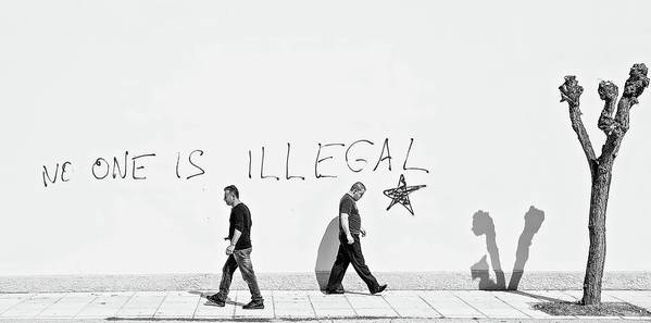 Panorama Art Print featuring the photograph No One Is Illegal by Martin Sander