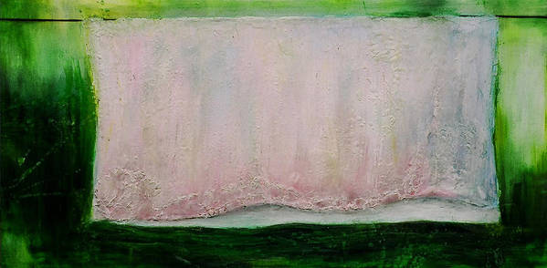 Sheet Clothes Line Pastel Colors Oil Painting Original Canvas Wax Summer Yard Green Pink Blue Thread Art Print featuring the painting Passingon by Martine Letoile