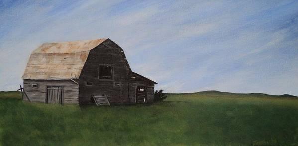 Prairie Art Print featuring the painting Prairie Barn by Jesslyn Fraser