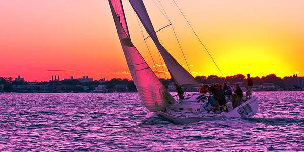 Sailing Boat Sailboat Sea Marina Water Sea Sunset Dusk Art Print featuring the photograph Sails At Dusk by Arthur Sa