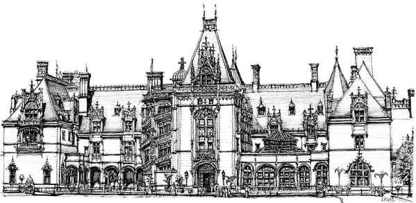 Biltmore Art Print featuring the drawing Stately Home In Ink by Adendorff Design