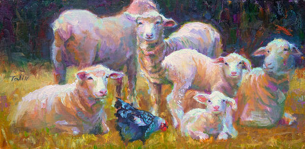 Lamb Art Print featuring the painting Stranger At The Well - Spring Lambs Sheep And Hen by Talya Johnson