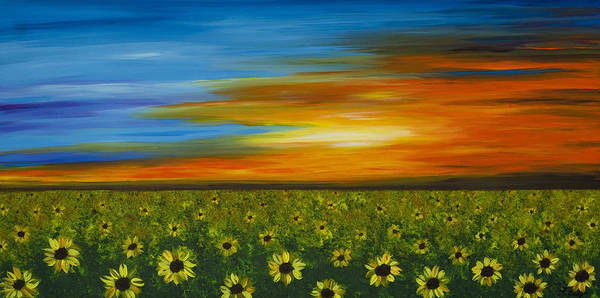 Sunflower Art Print featuring the painting Sunflower Sunset - Flower Art By Sharon Cummings by Sharon Cummings