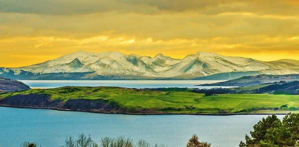 Canvas Art Print featuring the photograph The Mountains Of Arran From Douglas Park Largs by Tylie Duff