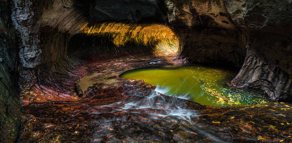 Zion Art Print featuring the photograph The Subway At Zion National Park - Pano Version by Larry Marshall