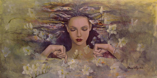 Fantasy Art Print featuring the painting The Voice Of The Thoughts by Dorina Costras