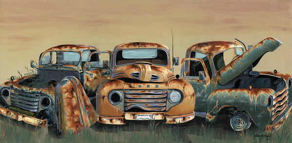 Truck Art Print featuring the painting Three Amigos by John Wyckoff