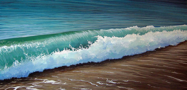 Wave On A Florida Beach Art Print featuring the painting To The Shore by Hunter Jay