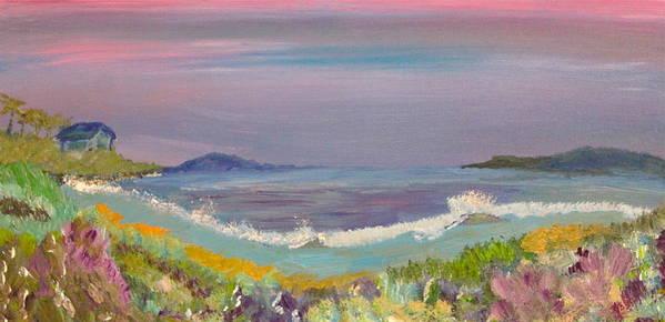 Ulua Beach Art Print featuring the painting Ulua Beach At Sunset by David Sulsh