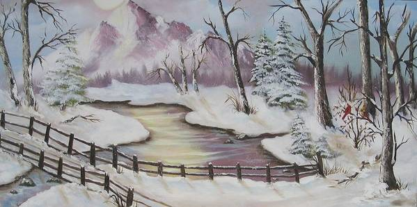 Christmas Art Print featuring the painting Winter Scene by Joni McPherson