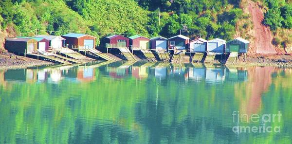 New Zealand Art Print featuring the photograph Boat House Reflections by Michele Penner
