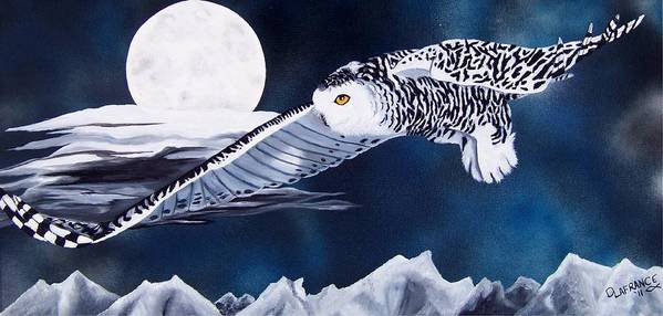 Owl Art Print featuring the painting Snowy Flight by Debbie LaFrance