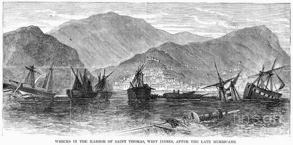 1867 Art Print featuring the photograph St. Thomas: Hurricane, 1867 by Granger