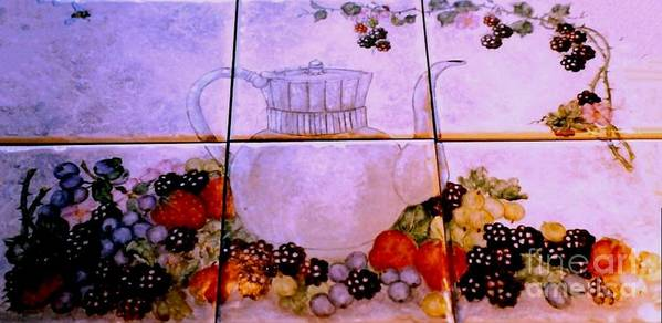 Teapot Art Print featuring the painting Teapot And Berries by Sandra Maddox