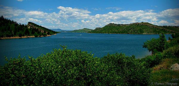 Horsetooth Reservoir Print featuring the photograph Blue Waters Of Horsetooth Reservoir by Aaron Burrows