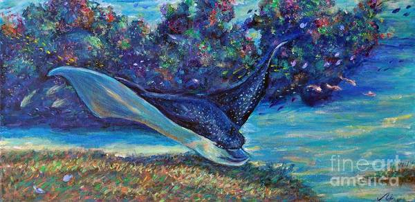 Spotted Eagle Ray Art Print featuring the painting Flight Of The Eagle by Li Newton