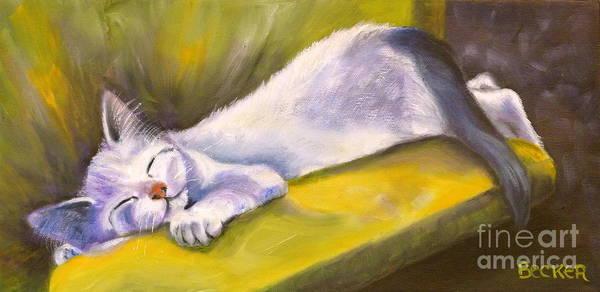 Cat Art Print featuring the painting Kitten Dream by Susan A Becker