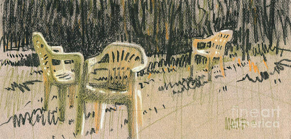Plastic Print featuring the drawing Lawn Chairs by Donald Maier