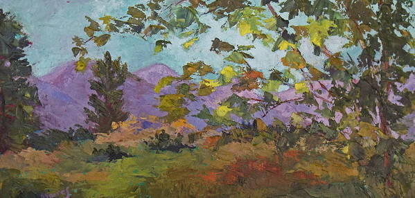 Landscape Art Print featuring the painting Leaves At Play by Trish Moores