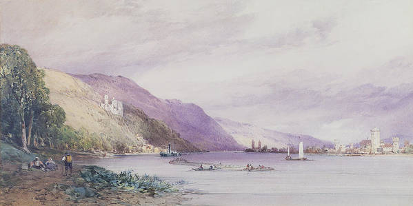 Landscape; German; Boats; Share; Town Art Print featuring the painting On The Rhine by William Callow