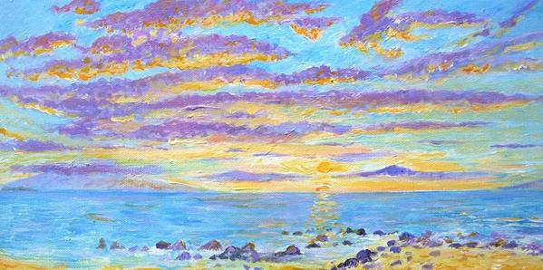 Dolphins Art Print featuring the painting Sunset Maui by Tamara Tavernier